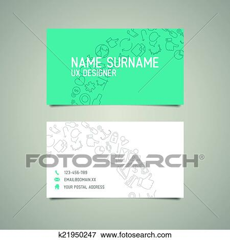 Clip Art Of Modern Simple Business Card Template For Ux Designer