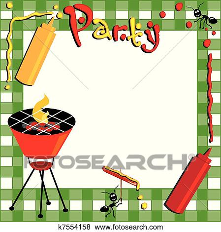 clip art of picnic and bbq invitation k7554158 search clipart rh fotosearch com Raffle Ticket Clip Art Barbeque Grill Clip Art Borders