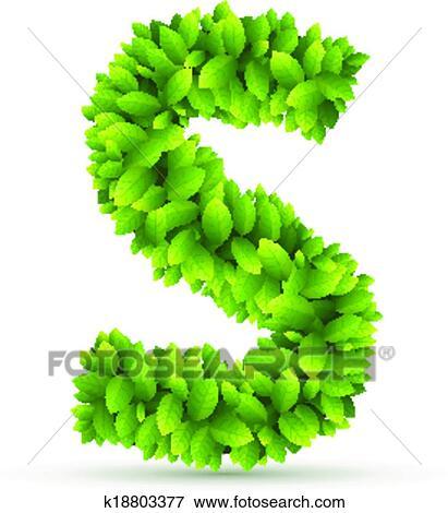 Clip Art - s de carta, vector, alfabeto, de, hojas verdes k18803377 ...