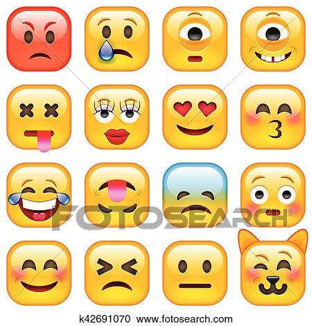 Set Di Quadrato Sorriso Emoticons Clipart