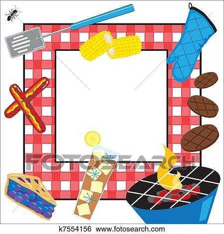 Clip Art Of Summertime Picnic Party Invitation K7554156 Search