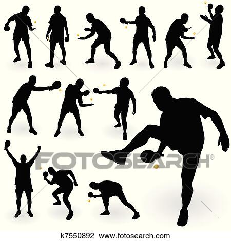 Table tennis players clipart