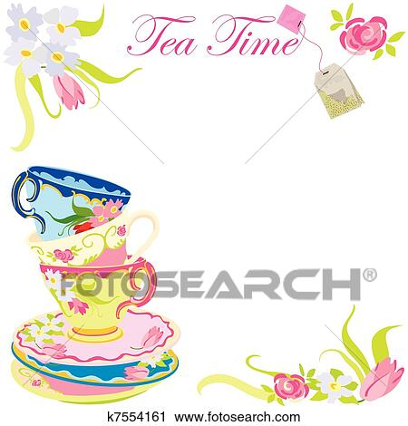 clipart of tea time party invitation k7554161 search clip art