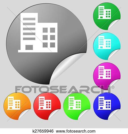 Clip Art - torre, comercial, edificios, y, residencial, apartamentos ...