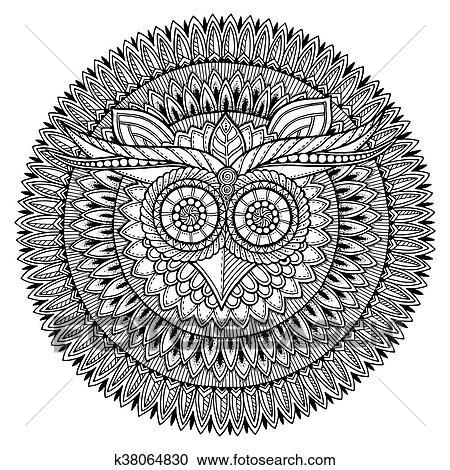 Clipart Vögel Theme Eule Schwarz Weiß Mandala Mit Abstrakt