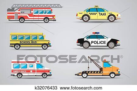 سهم التوجيه أجبر العظم بسبب ال التعريف عزل عزل نقل Icons النار سيارة إسعاف سيارة الشرطة حافلة نقل الط ب Taxi Clipart K32076433 Fotosearch