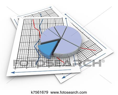 Stock Illustration Of 3d Pie Chart On Graph Paper K7561679 Search