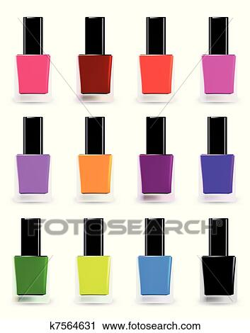 clipart of bottles of nail polish in various shades vector set rh fotosearch com nail polish clipart free nail polish clipart png