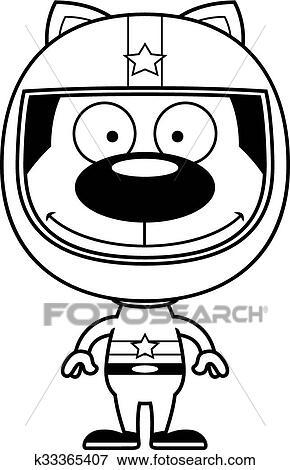 Clip Art Of Cartoon Smiling Race Car Driver Kitten K33365407