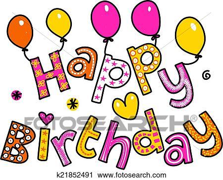 Clipart Gelukkige Verjaardag Spotprent Tekst Clipart K21852491