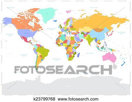 Hi Detail Colored Vector Political World Map Illustration Clip Art