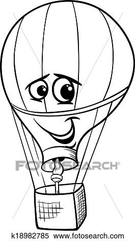 Black And White Cartoon Illustration Of Funny Hot Air Balloon Comic Mascot Character For Coloring Book