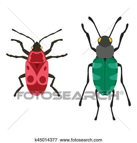 Clip Art Insekt Symbol Flache Freigestellt Vektor