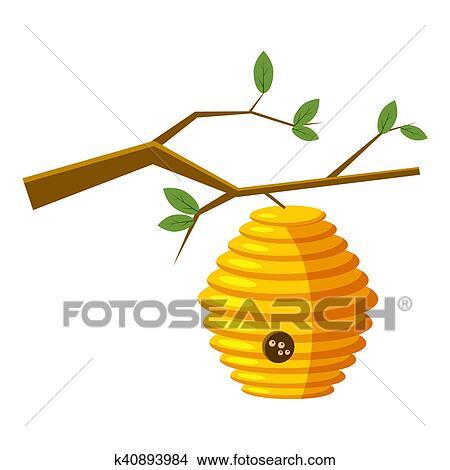 colmena en rbol icono en caricatura estilo aislado blanco fondo abeja casa smbolo ilustracin