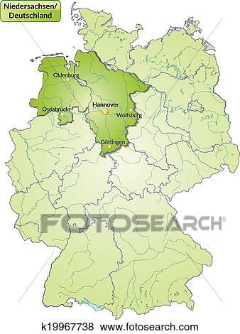 Landkarte Von Niedersachsen Clip Art K19967738 Fotosearch