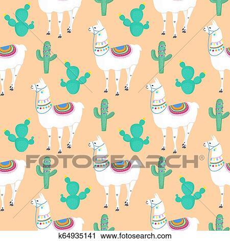 Llama Cacti Cactus Funny Alpaca Cartoon Character