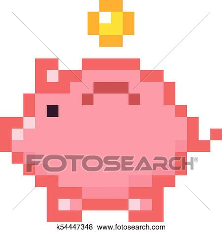 Retro Design Bank.Piggy Bank Money Pixel Art Cartoon Retro Game Style Set Clip Art