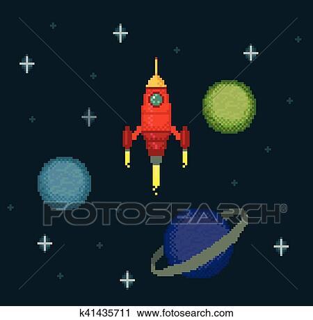 Pixel Vaisseau Spatial Dans étoilé Espace Clipart
