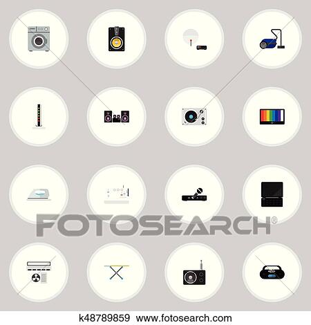 Clip Art Of Set Of 16 Editable Tech Icons Includes Symbols Such As
