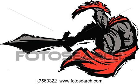 clipart of spartan trojan silhouette mascot st k7560322 search rh fotosearch com spartan shield clipart spartan shield clipart