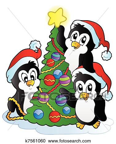 clipart of three penguins with christmas tree k7561060 search clip