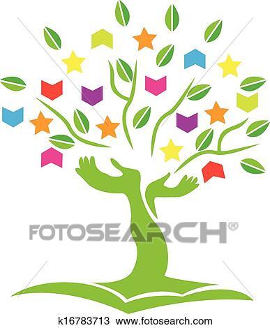 clipart árbol con manos libros estrellas logotipo k16783713