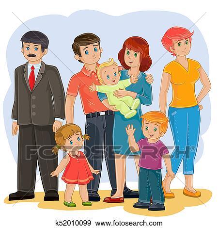 幸せな家族 祖父 祖母 お父さん お母さん 娘 息子 そして