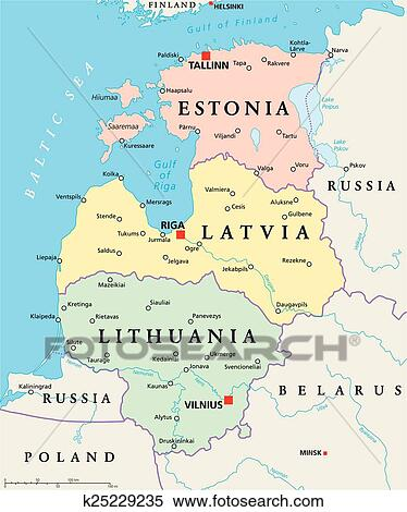 Baltic States Political Map Clipart | k25229235 | Fotosearch