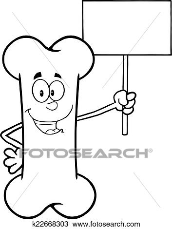 Clipart Of Black And White Bone K22668303