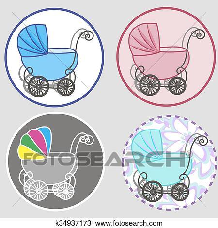 Clipart Chuva Bebê Menina Anúncio Carruagem Bebê Convite Com