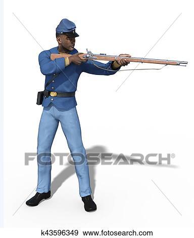 stock illustration of civil war union soldier aiming rifle k43596349