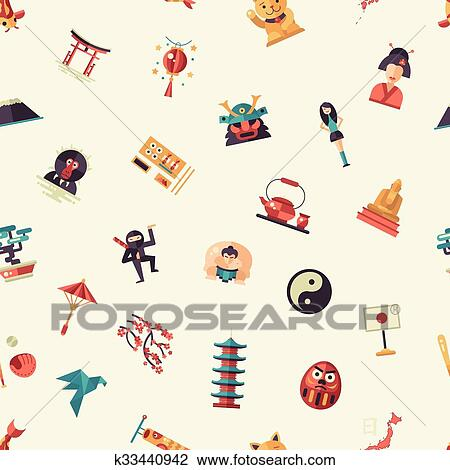 Clipart Of Flat Design Japan Travel Pattern With Landmarks Famous