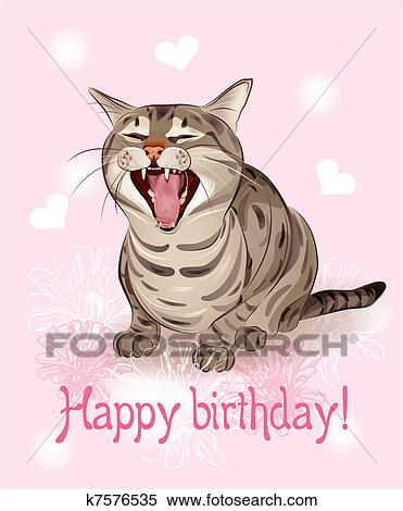 Clipart Of Happy Birthday Card Funny Cat Sings Greeting Song Pink