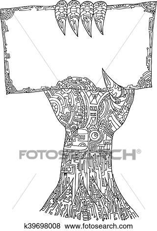 Host Hand Zentangle Vector In Halloween Clip Art K39698008 Fotosearch