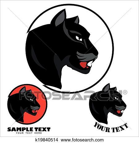 Clipart - pantera, head., pantera negra, cabeza, ov k19840514 ...