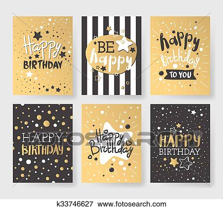 Set Of Beautiful Birthday Invitation Cards Decorated With
