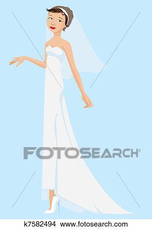 花嫁 身に着けていること 白いドレス そして ベール クリップアート