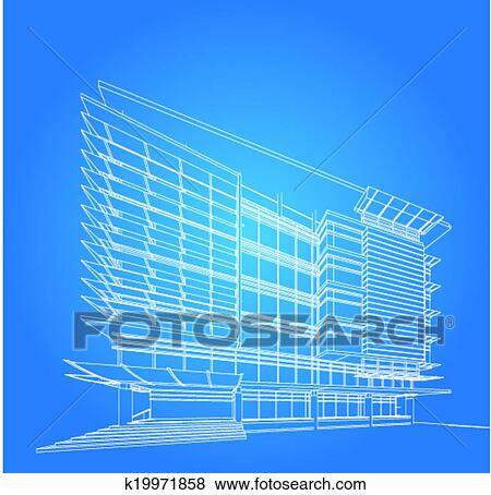 clip art of 3d render of building wireframe k19971858 search