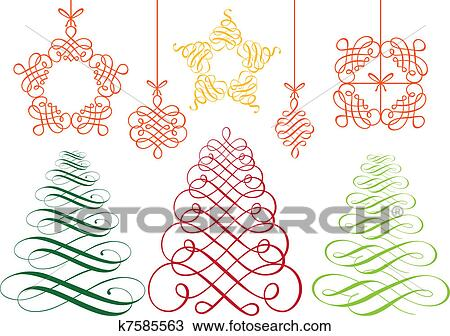 Christmas Ornament Vector.Christmas Ornaments Vector Set Clipart