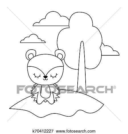 Cute Porco Espinho Animal Em Paisagem Natural Clipart
