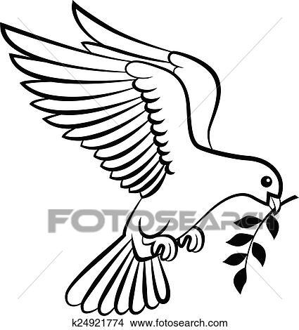 Clipart dessin anim colombe oiseaux logo pour paix - Colombe en dessin ...