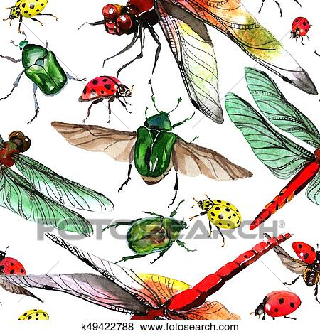 a8a8c70e371ac Exotic ladybug wild insect pattern in a watercolor style. Full name of the  insect: ladybug. Aquarelle wild insect for background, texture, wrapper  pattern ...