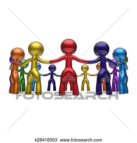 Dibujo Hombres Juntos Círculo Cadena Social Red Gente