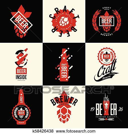 Modernos Isolado Arte Cerveja Bebida Vetorial Logotipo