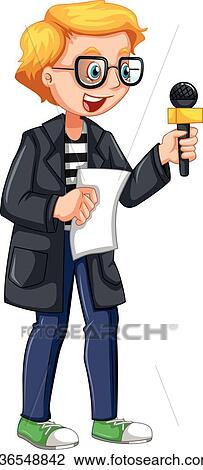 Clipart Of News Reporter Holding Script And Microphone K36548842