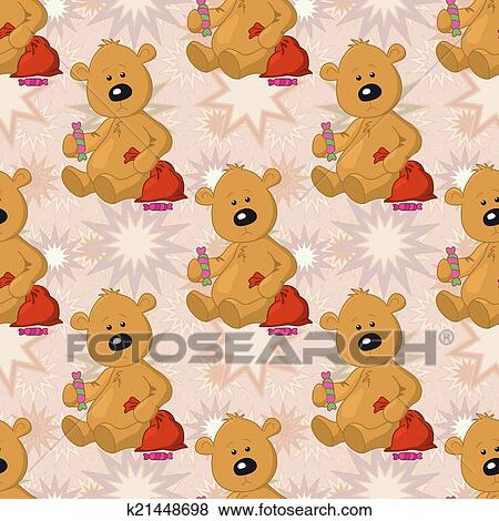 Banque D Illustrations Seamless Modele Ours Peluche A Noel