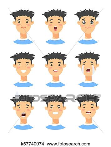 Set of male emoji characters. Cartoon style emotion icons