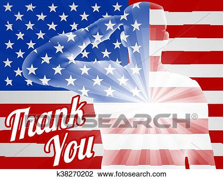 Clipart Of Veterans Day Thank You American Flag K38270202 Search