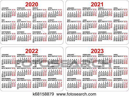 2022 2023 Pocket Calendar.2020 2021 2022 2023 Years Set Pocket Calendar Grid Clip Art K68158879 Fotosearch