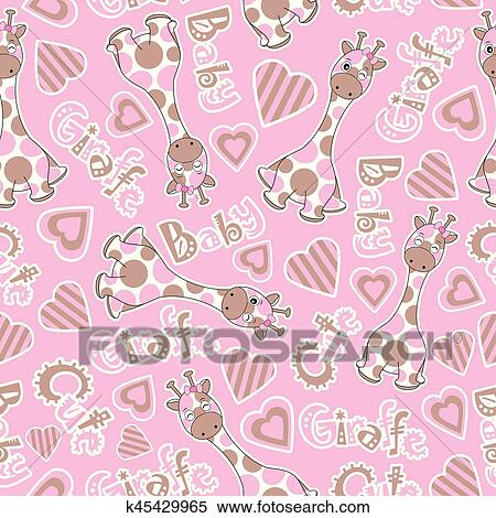 Baby Shower Seamless Pattern With Cute Baby Giraffe On Pink Background Clipart K45429965 Fotosearch